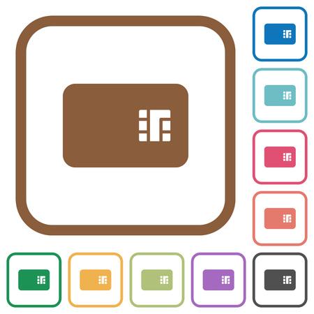 Icônes simples de carte à puce dans des cadres carrés arrondis de couleur sur fond blanc Vecteurs