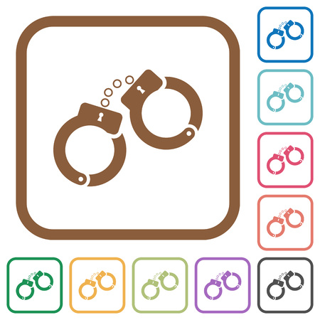 Handcuffs simple icons in color rounded square frames on white background