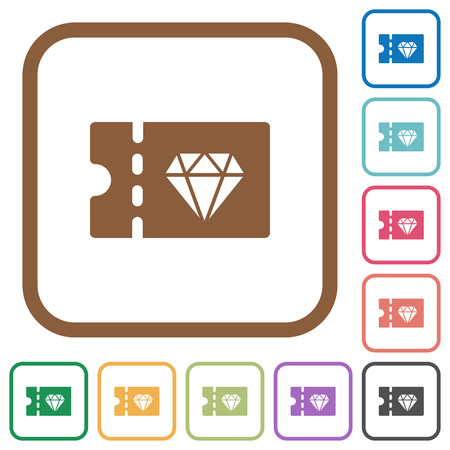 Jewelry store discount coupon simple icons in color rounded square frames on white background  イラスト・ベクター素材