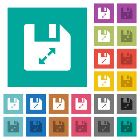 Uncompress file multi colored flat icons on plain square backgrounds. Included white and darker icon variations for hover or active effects. Illustration