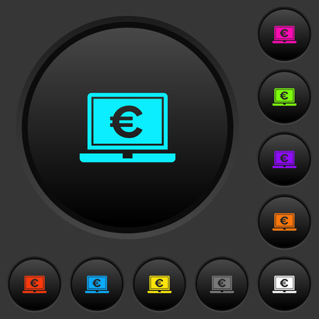 Laptop with Euro sign dark push buttons with vivid color icons on dark grey background