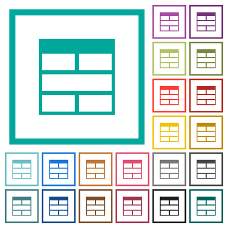 Spreadsheet horizontally merge table cells flat color icons with quadrant frames on white background Ilustração