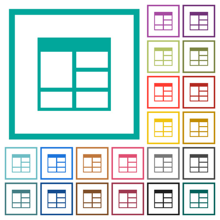 Spreadsheet vertically merge table cells flat color icons with quadrant frames on white background Vektorové ilustrace