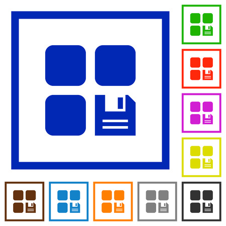 Save component flat color icons in square frames on white background