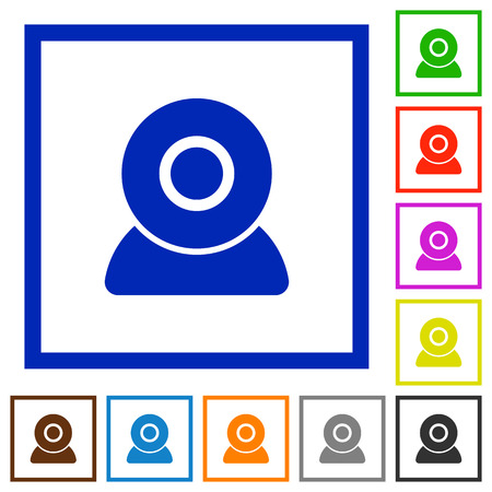 Webcam flat color icons in square frames on white background Çizim