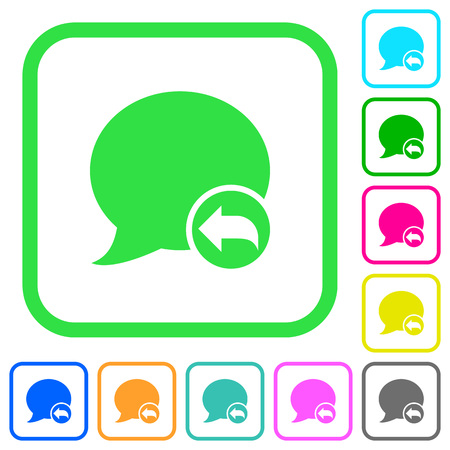 Reply blog comment vivid colored flat icons in curved borders on white background
