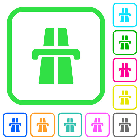 Highway vivid colored flat icons in curved borders on white background Illustration