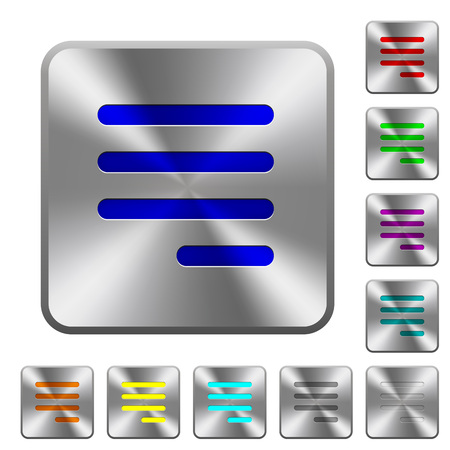 Text align justify last row right engraved icons on rounded square glossy steel buttons