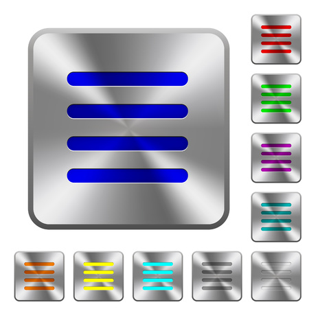 Text align justify engraved icons on rounded square glossy steel buttons Illustration