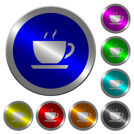 Cup of coffee icons on round luminous coin-like color steel buttons