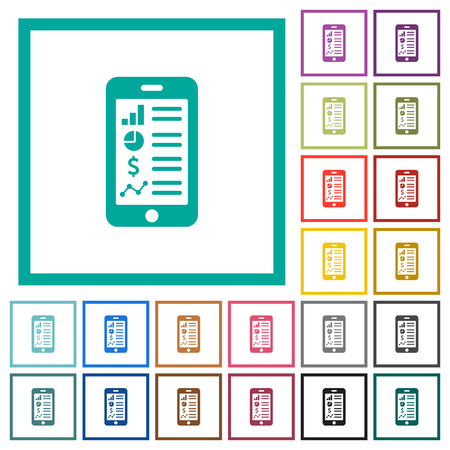 Mobile applications flat color icons with quadrant frames on white background