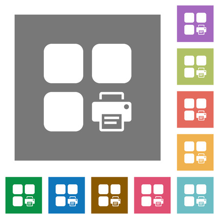 Print component flat icons on simple color square backgrounds
