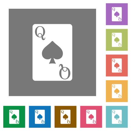 Queen of spades card flat icons on simple color square backgrounds