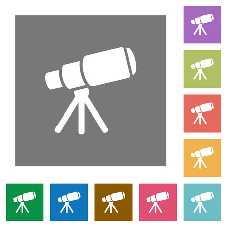 Space telescope flat icons on simple color square backgrounds 向量圖像