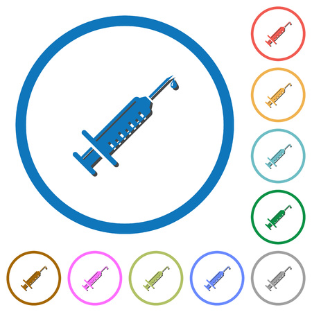 Syringe with drop flat color vector icons with shadows in round outlines on white background Banque d'images - 111655585