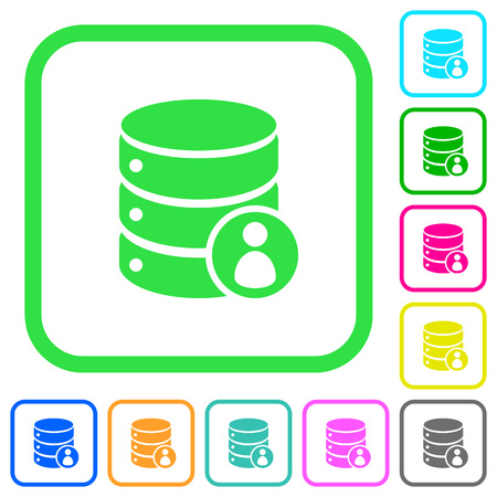 Database privileges vivid colored flat icons in curved borders on white background Vektorgrafik