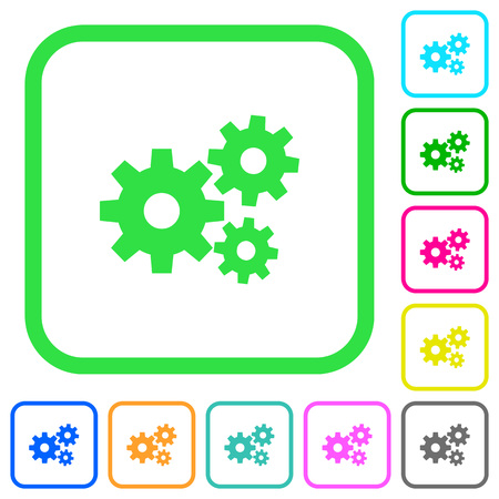 Gears vivid colored flat icons in curved borders on white background