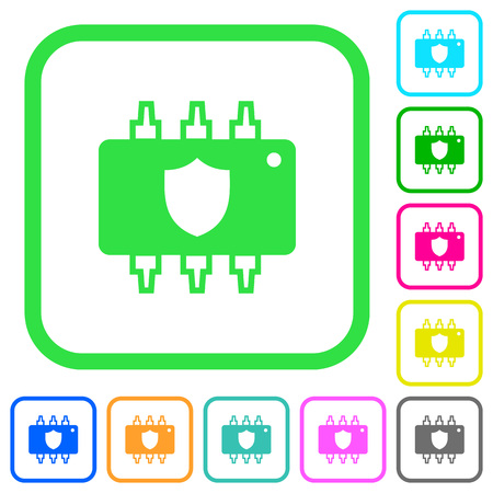 Hardware protection vivid colored flat icons in curved borders on white background