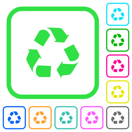 Recycling vivid colored flat icons in curved borders on white background