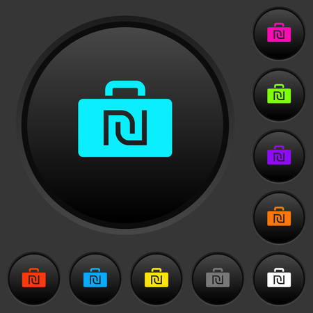 Israeli new Shekel bag dark push buttons with vivid color icons on dark grey background