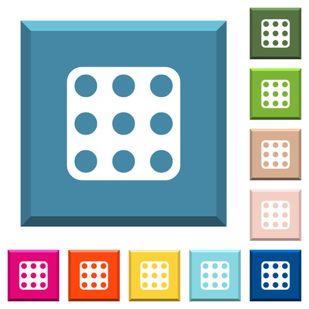 Domino nine white icons on edged square buttons in various trendy colors Vectores