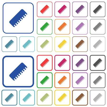 Ruler color flat icons in rounded square frames. Thin and thick versions included. Banque d'images - 111655649