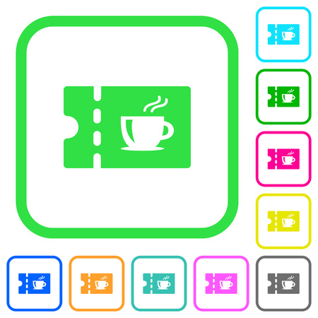 Coffee house discount coupon vivid colored flat icons in curved borders on white background