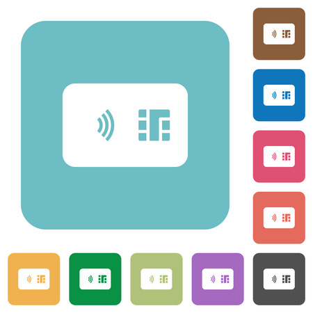 NFC chip card white flat icons on color rounded square backgrounds 向量圖像