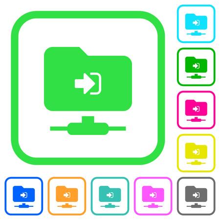 Connexion FTP icônes plates de couleurs vives dans les bordures courbes sur fond blanc Vecteurs