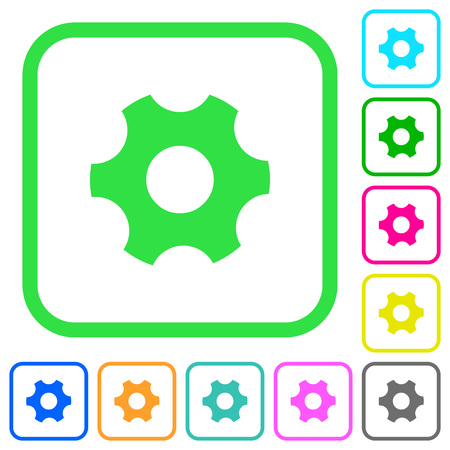 Single cogwheel vivid colored flat icons in curved borders on white background