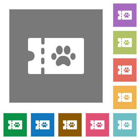 pet shop discount coupon flat icons on simple color square backgrounds 矢量图像