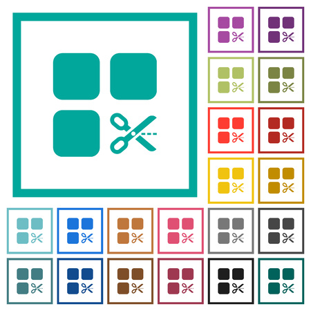 Cut component flat color icons with quadrant frames on white background
