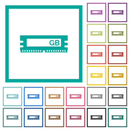 RAM module flat color icons with quadrant frames on white background