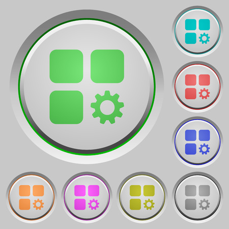 Component settings color icons on sunk push buttons