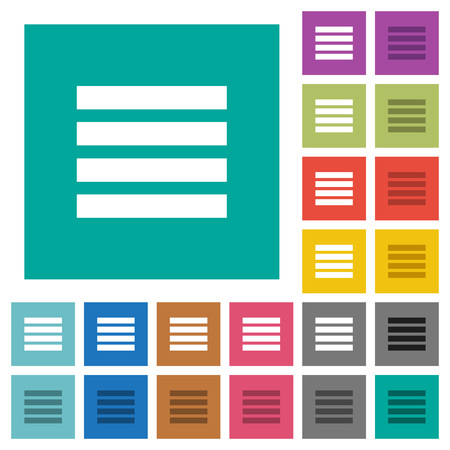 Text align justify multi colored flat icons on plain square backgrounds. Included white and darker icon variations for hover or active effects. Illustration