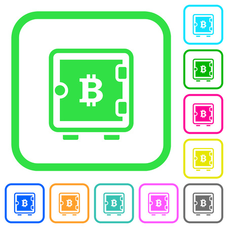 Bitcoin strong box vivid colored flat icons in curved borders on white background