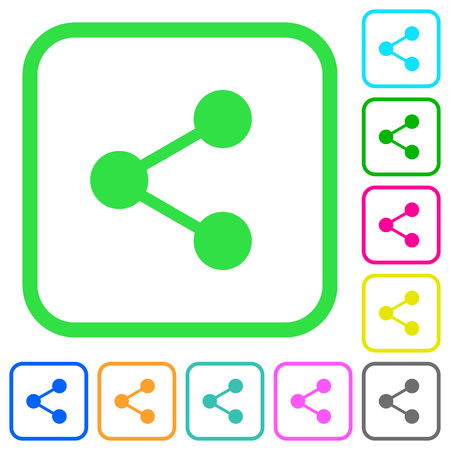 Share vivid colored flat icons in curved borders on white background