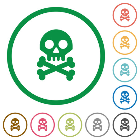 Skull with bones flat color icons in round outlines on white background