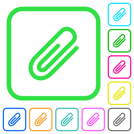 Attachment vivid colored flat icons in curved borders on white background