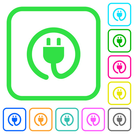 Rolled power cord vivid colored flat icons in curved borders on white background
