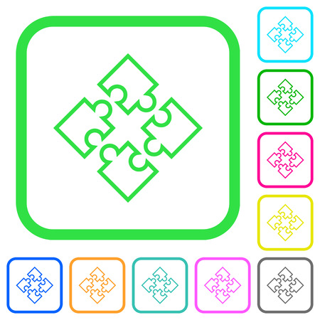 Puzzle pieces vivid colored flat icons in curved borders on white background