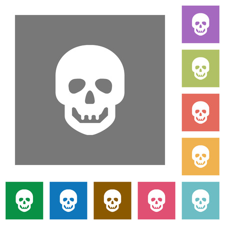 Human skull flat icons on simple color square backgrounds