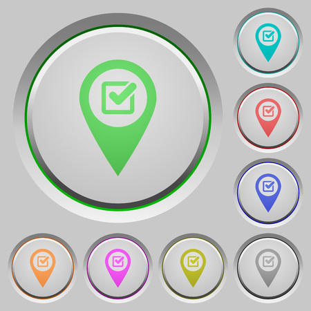 Checkpoint GPS map location color icons on sunk push buttons Stockfoto - 111597733