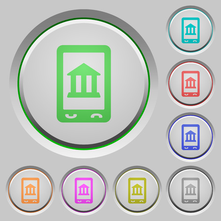 Mobile banking color icons on sunk push buttons Illustration