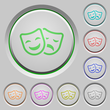 Comedy and tragedy theatrical masks color icons on sunk push buttons