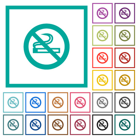 No smoking sign flat color icons with quadrant frames on white background