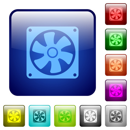 Computer fan icons in rounded square color glossy button set