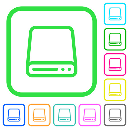 Hard disk drive vivid colored flat icons in curved borders on white background