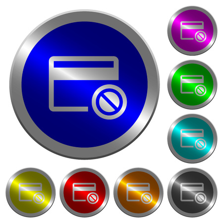 Credit card disabled icons on round luminous coin-like color steel buttons