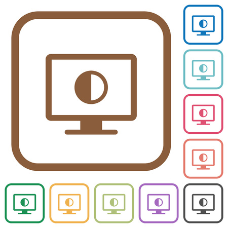Adjust screen contrast simple icons in color rounded square frames on white background